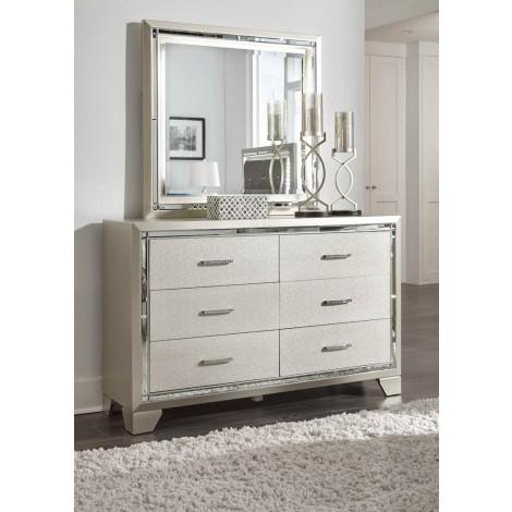 Lonnix Silver Finish Bedroom Mirror
