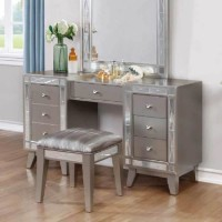 Leighton Metallic Mercury Vanity Desk