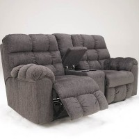 Acieona Slate Double Recliner Loveseat with Console