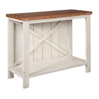 Abramsland White/Brown Console Sofa Table