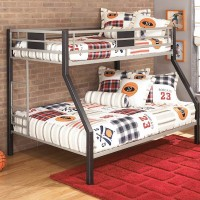 Dinsmore Black/Gray Twin/Full Bunk Bed with Ladder