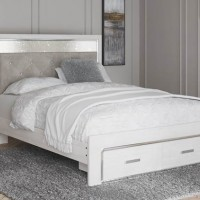 Altyra White Queen Panel Bed with Storage (Mattress And Foundation Required)