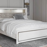 Altyra White King Upholstered Panel Bookcase Headboard