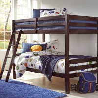 Halanton Dark Brown Twin/Twin Bunk Bed with Ladder