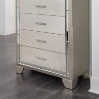 Lonnix Silver Finish Five Drawer Chest