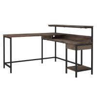 Arlenbry Gray L-Desk with Storage
