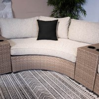 Calworth Beige Curved Loveseat with Cushion
