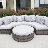 Harbor Court Gray Curved Loveseat with Cushion