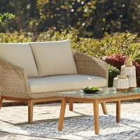 Crystal Cave Beige Loveseat with Table (Includes 2)