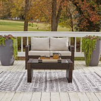 East Brook Dark Brown Loveseat with Table (Includes 2)