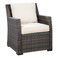 Easy Isle Dark Brown/Beige Lounge Chair with Cushion (Includes 1)