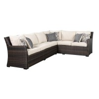 Easy Isle Dark Brown/Beige Sofa Sectional/Chair with Cushion (Includes 3)
