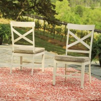 Preston Bay Antique White Chair with Cushion (Includes 2)