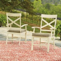 Preston Bay Antique White Arm Chair With Cushion (Includes 2)