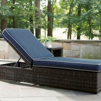 Grasson Lane Brown/Blue Chaise Lounge with Cushion