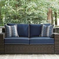 Grasson Lane Brown/Blue Loveseat with Cushion