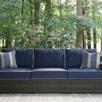 Grasson Lane Brown/Blue Sofa with Cushion