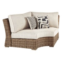 Beachcroft Beige Curved Corner Chair with Cushion