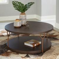 Brazburn Dark Brown/Gold Finish Accent Table Set