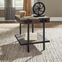 Bostweil Light Brown/Black Square End Table