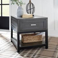 Caitbrook Gray/Black Rectangular End Table