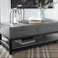 Caitbrook Gray/Black Rectangular Lift Top Cocktail Table