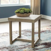 Challene Light Gray Square End Table