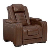 Backtrack Chocolate Power Recliner/Adjustable Headrest