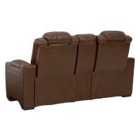 Backtrack Chocolate Power Recliner Loveseat/Console/Adjustable Headrest