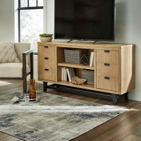 Freslowe Light Brown/Black LG TV Stand with Fireplace Option