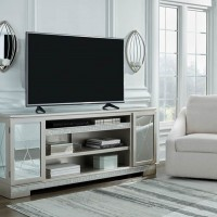 Flamory Silver Finish LG TV Stand with Fireplace Option