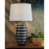 Billow Antique Silver Finish Metal Table Lamp (Includes 1)