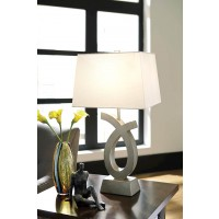 Amayeta Silver Finish Poly Table Lamp (Includes 2)