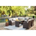 Easy Isle Dark Brown/Beige Patio Group